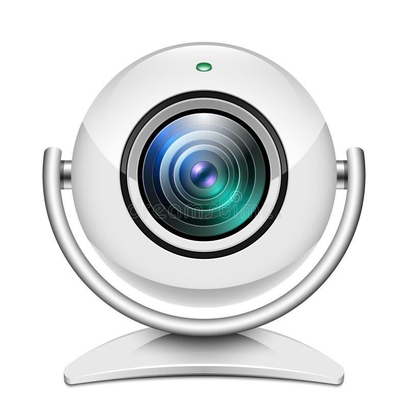 Realistyczna sieci kamery ikona na bielu ilustracja wektor