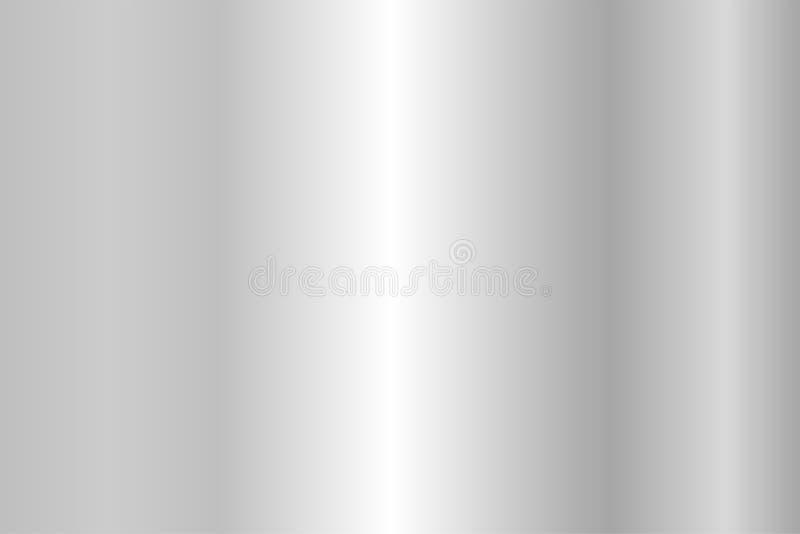 Realistyczna srebna tekstura Błyszczący metal folii gradient ilustracji