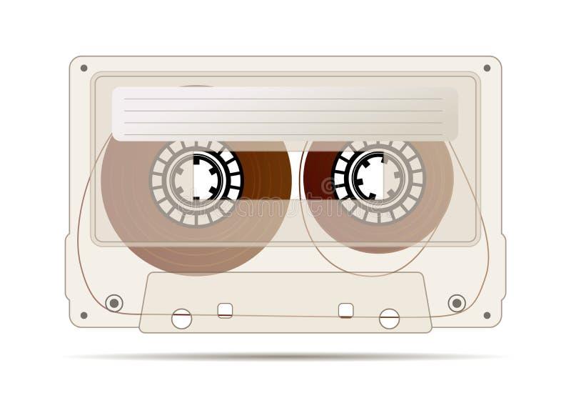 Realistyczna szczegółowa audio kaseta robić od przejrzystego brązu klingerytu z magnesową taśmą, rocznika przedmiot odizolowywają royalty ilustracja