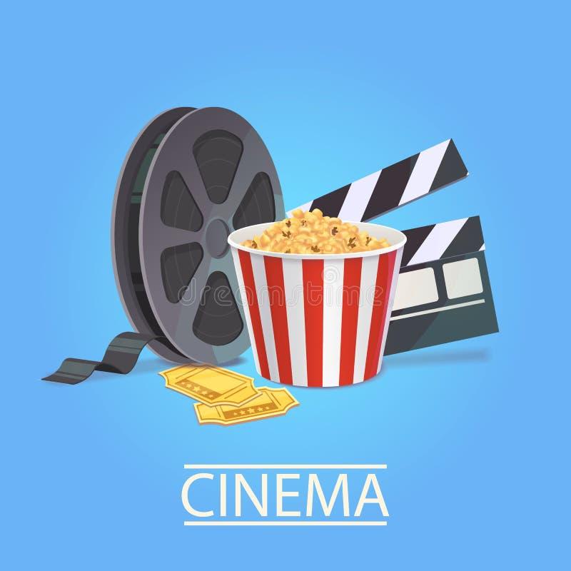 Realistyczna sztuka dla kinowego przemysłu Elementy kinematografia ilustracja wektor