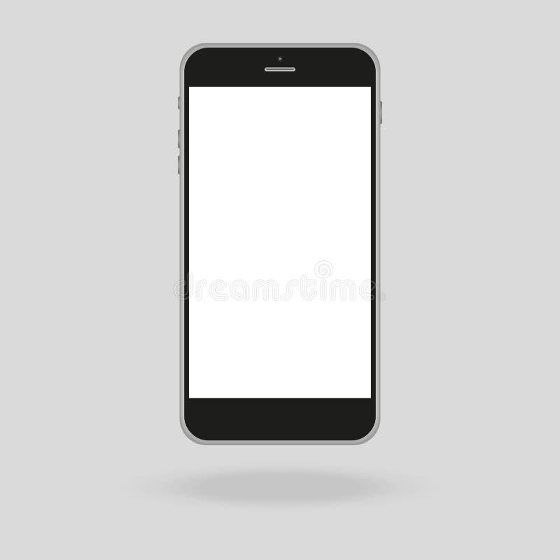 Realistyczna telefon komórkowy kolekcja w nowym telefonu stylu Biały i czarny smartphone z cieniem odizolowywającym na szarym tle royalty ilustracja