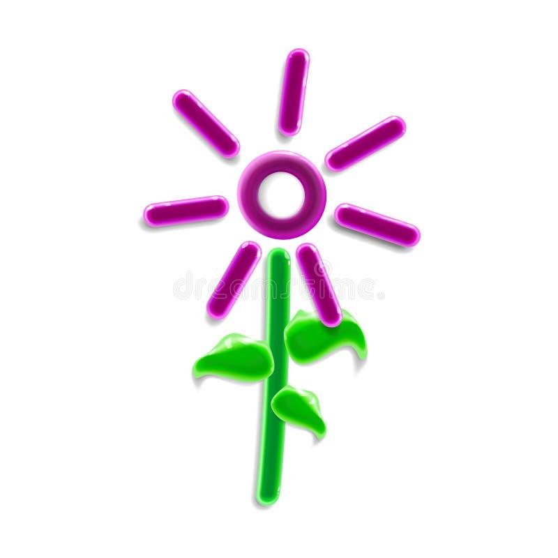 Realistyczna trójwymiarowa klingeryt menchii kwiatu zabawka Nowożytny glansowany kolorowy ornamentacyjny kwiecisty element w lekk royalty ilustracja