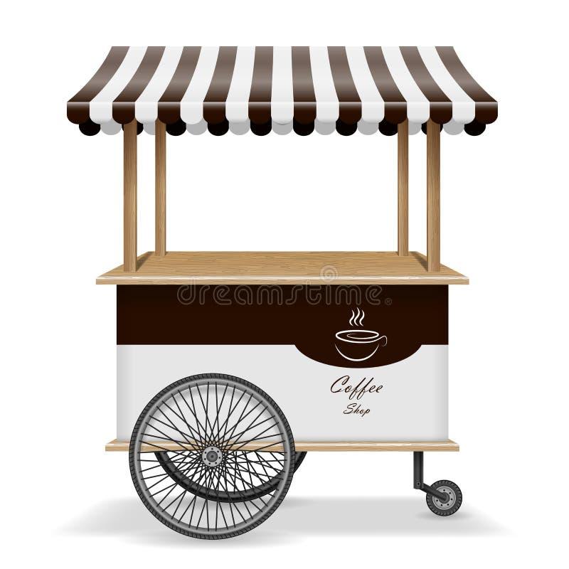 Realistyczna uliczna karmowa fura z kołami Mobilny kawa rynku kramu szablon Gorący kawowy kioska sklepu mockup odizolowywający royalty ilustracja