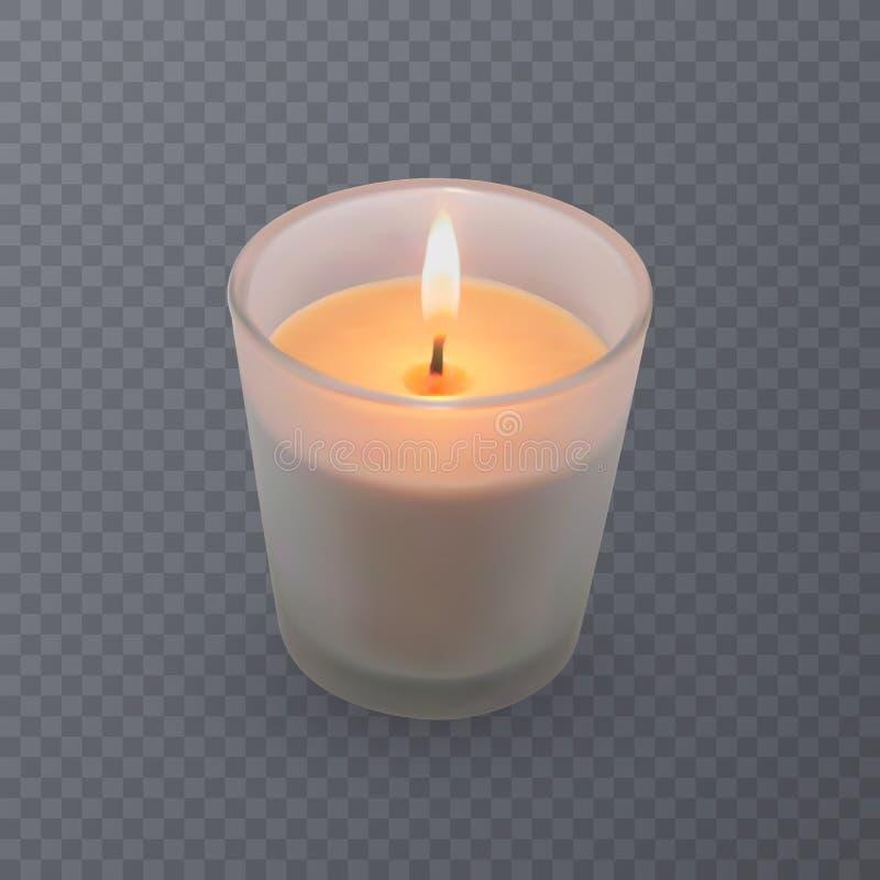 Realistyczna wektorowa świeczka, aromatyczna świeczka w szkle ilustracja wektor