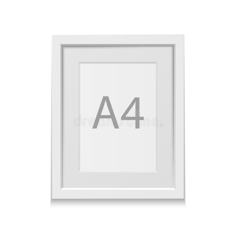 Realistyczna wektorowa biała obrazek rama dla A4 formata ilustracja wektor