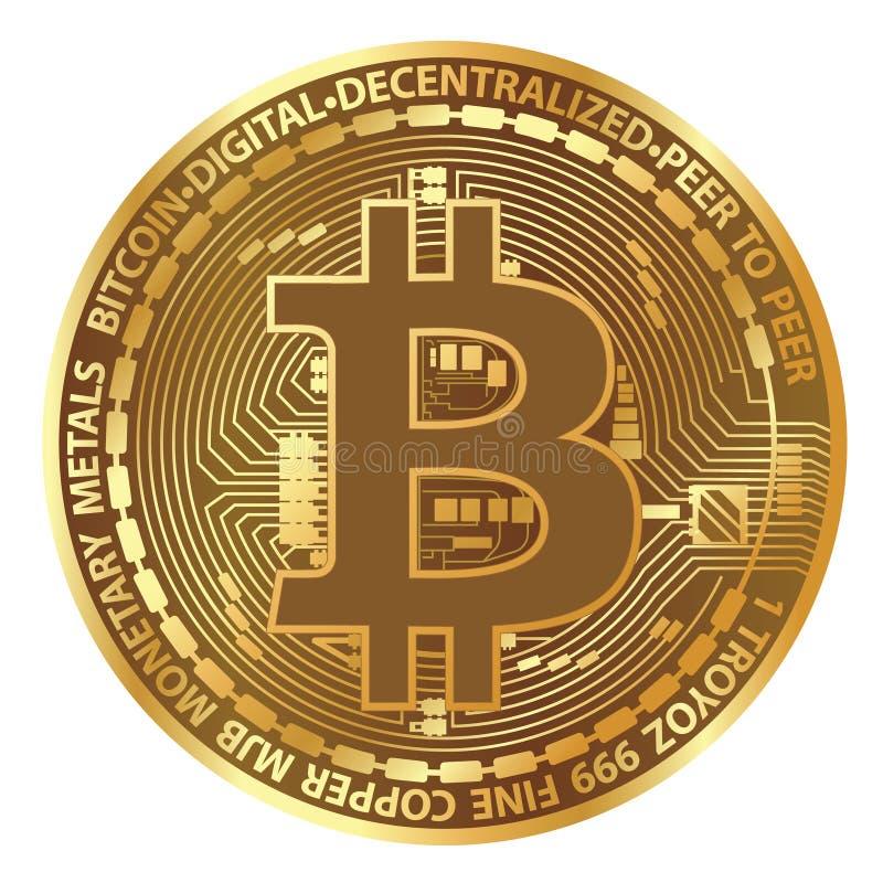 Realistyczna wektorowa bitcoin moneta ilustracja wektor