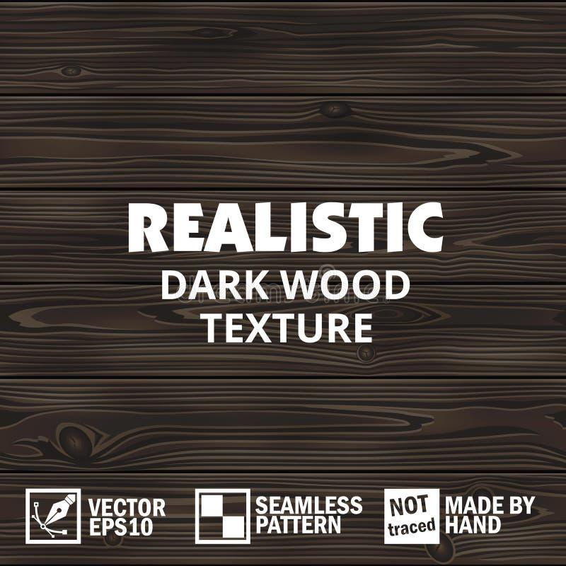 Realistyczna wektorowa ciemna drewniana tekstura Editable bezszwowy tło royalty ilustracja
