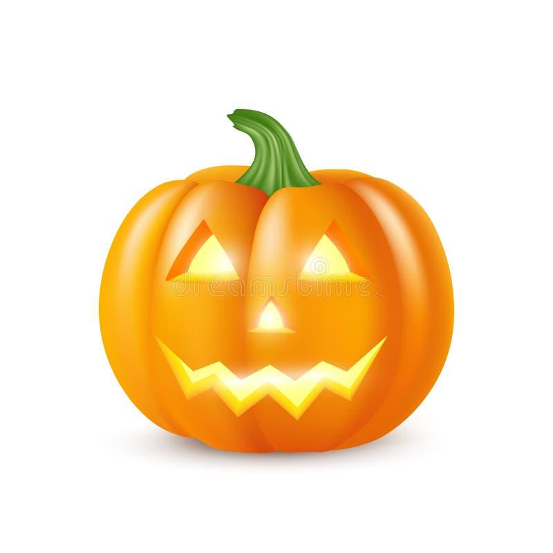 Realistyczna wektorowa Halloweenowa bania z świeczką inside Szczęśliwej twarzy Halloweenowa bania odizolowywająca na białym tle ilustracji