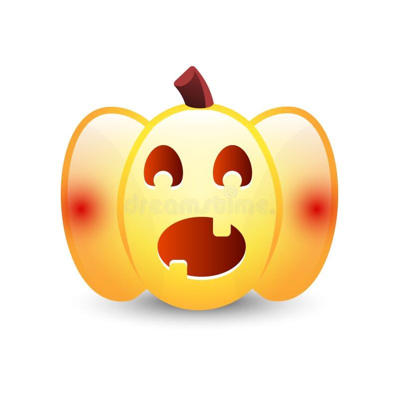 Realistyczna wektorowa Halloweenowa bania z świeczką inside Szczęśliwej twarzy Halloweenowa bania odizolowywająca na białym tle royalty ilustracja