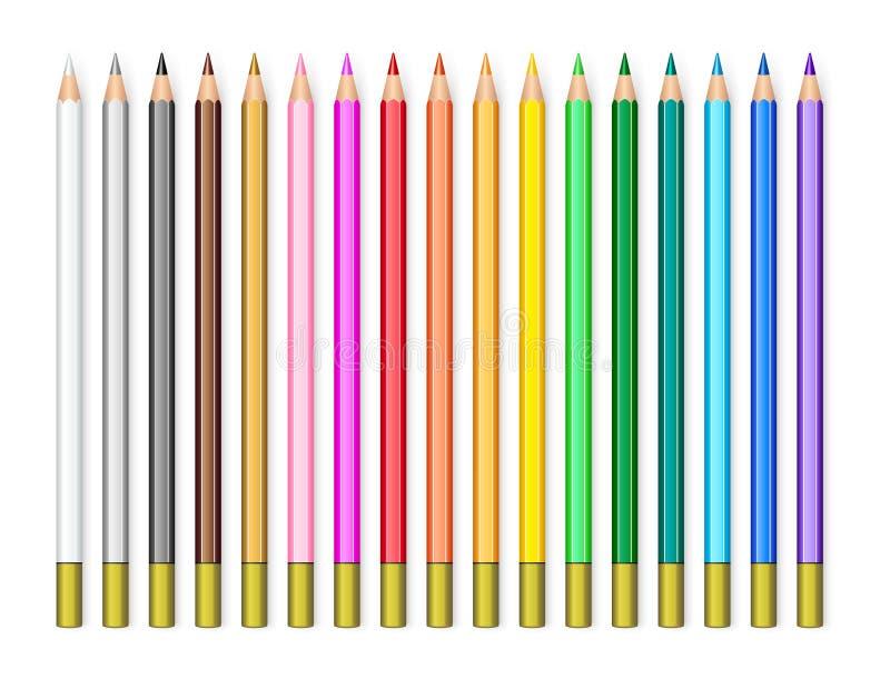 Realistyczni ołówki ustawiający royalty ilustracja
