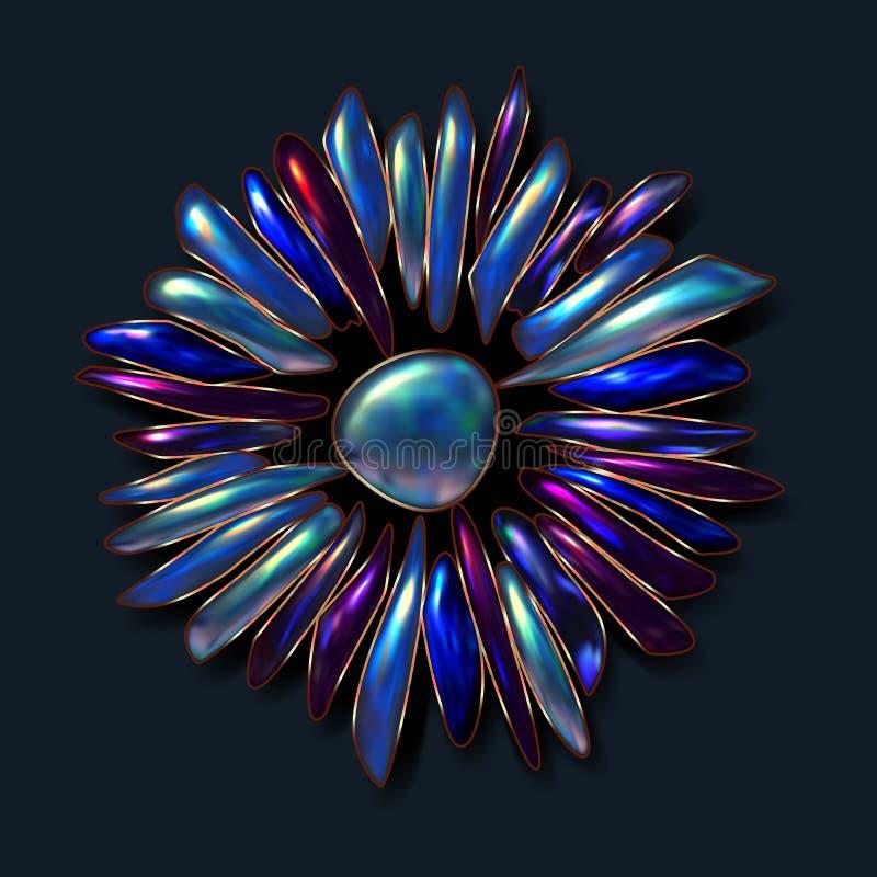 Realistyczna wektorowa obrazek broszka wykładająca z cennymi kamieniami Opal, turkus, adular, Moonstone Połysku, czystego i powie ilustracja wektor