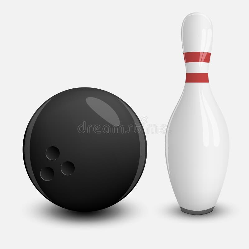 Realistyczna wektorowa piłka i szpilka kręgle ilustracja wektor
