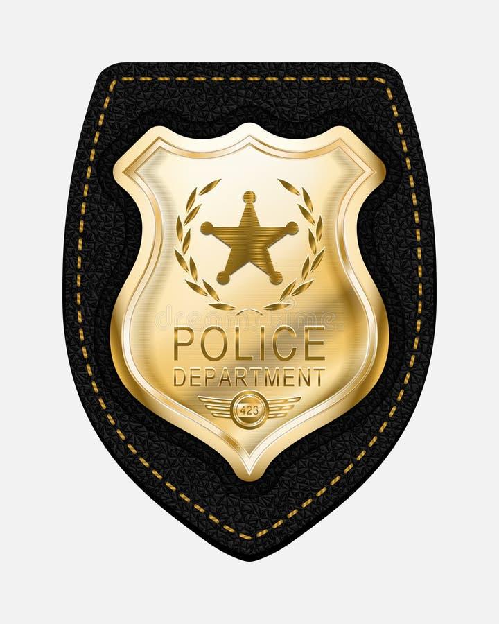 Realistyczna Wektorowa Złota Milicyjna odznaka Umieszczająca na Rzemiennym Backgroun ilustracja wektor