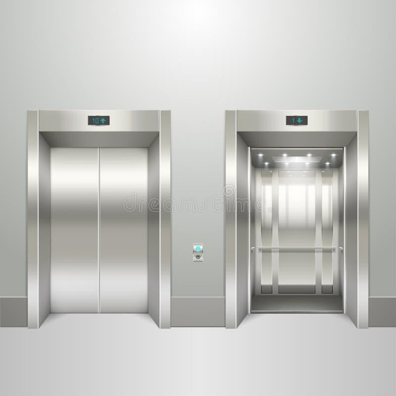 Realistyczna winda otwarta i zamknięci drzwi royalty ilustracja