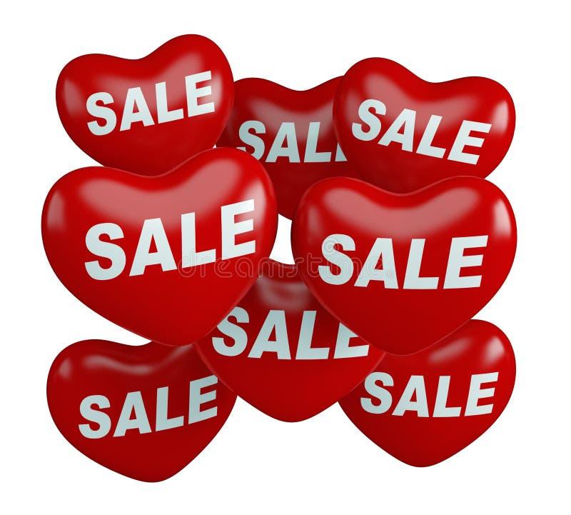 Realistyczna wisząca czerwona kierowa sprzedaż szybko się zwiększać dla valentines dnia promoci w białym tle 3 d czynią ilustracja wektor