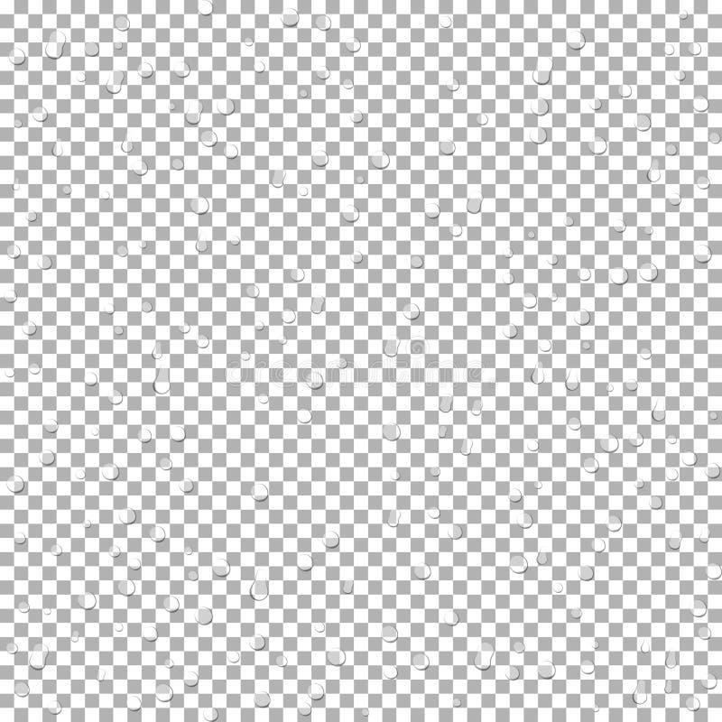 Realistyczna wody kropla przejrzysta Podeszczowa kropla na szkle E royalty ilustracja