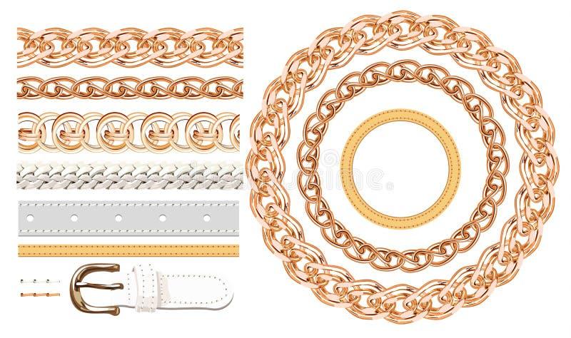 Realistyczna złocista kolia przykuwa wektorowych muśnięcia ustawiających Złotego metalu łańcuszkowy połączenie dla dekoraci ilust royalty ilustracja