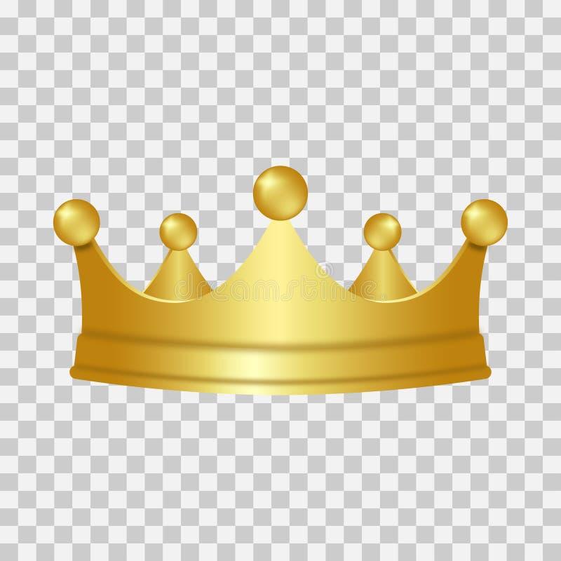 Realistyczna złocista korona 3D złota korona odizolowywająca na przejrzystym tle wektor ilustracji
