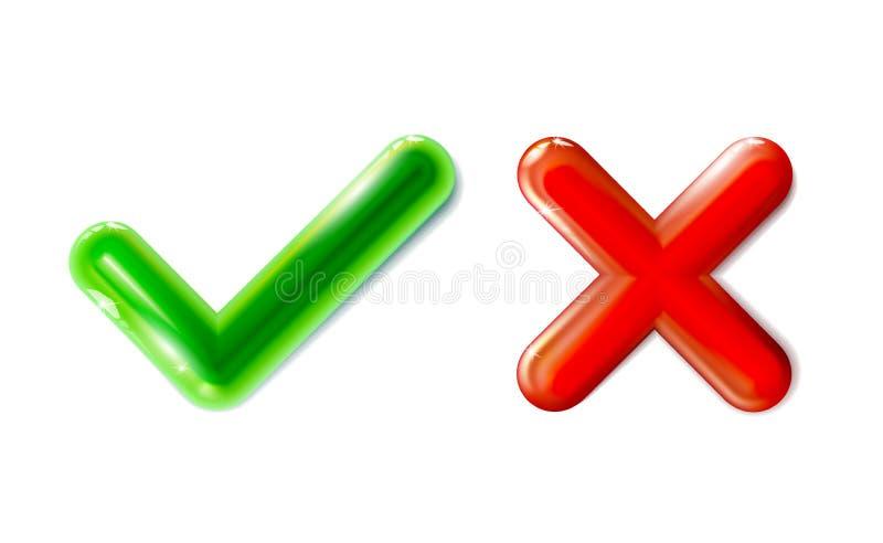Realistyczna zielona checkmark i czerwieni crosshair ikona Cwelicha ustalony symbol Klingerytu 3d zabawka Nowożytny glansowany ko royalty ilustracja