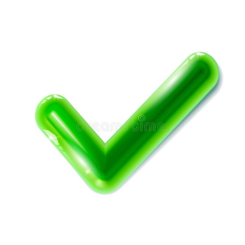 Realistyczna zielona checkmark ikona Kleszczowy symbol Klingerytu 3d zabawka Nowożytny glansowany kolorowy ornamentacyjny ui elem royalty ilustracja