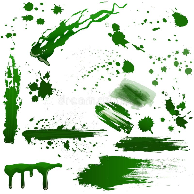 Realistyczna zielona toksyczna krew splatters wektoru set Pluśnięcie jadu ciecz ilustracja wektor