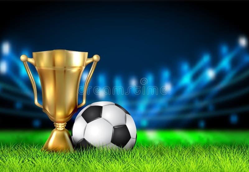Realistyczna zwycięzca filiżanka i piłki nożnej piłka odizolowywająca na śródpolnym stadium Nagroda dla mistrzów w postaci złoteg ilustracji
