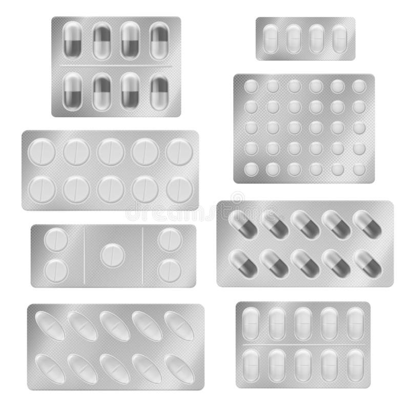Realistyczne bąbel paczek pigułki Medycznej pastylki kapsuł środek przeciwbólowy narkotyzuje witamina antybiotyka aspirynę  royalty ilustracja