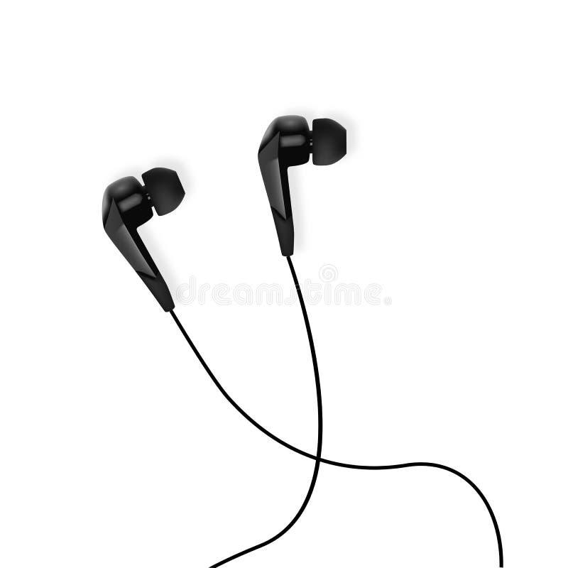 Realistyczne białe słuchawki Odosobneni earbuds - wektor royalty ilustracja