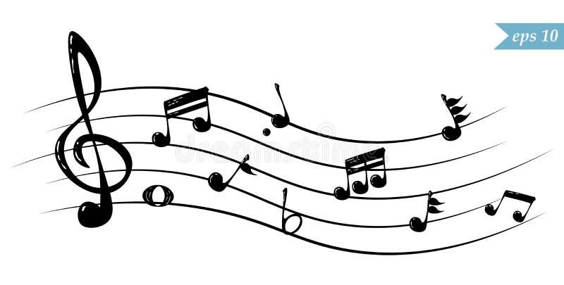 Realistyczne bieżące muzykalne notatki, wektorowa ilustracja ilustracja wektor