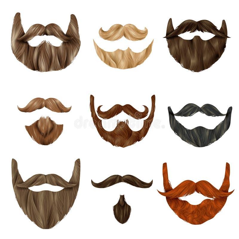 Realistyczne brody i wąsy set royalty ilustracja