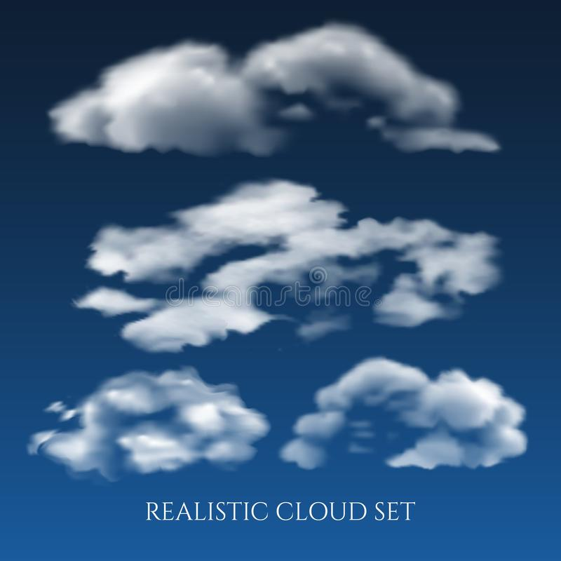 Realistyczne chmury na niebieskim niebie royalty ilustracja