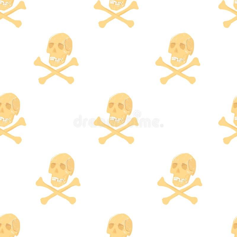 Realistyczne czaszki i crossbones ludzki bezszwowy wzór Dla tapety, wrappingpaper, tkanina druk Przerażający i horrorze royalty ilustracja