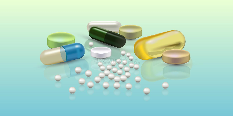 Realistyczne 3d pigułki Apteka, antybiotyk, witaminy, pastylka, kapsuła Medycyna Wektorowa ilustracja pastylki i ilustracja wektor