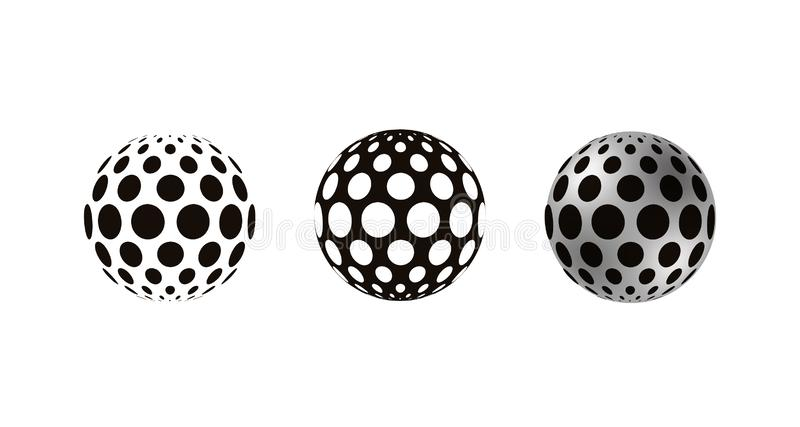 Realistyczne 3D sfery dekorowali z okręgami, odizolowywającymi na białym tle ilustracja wektor