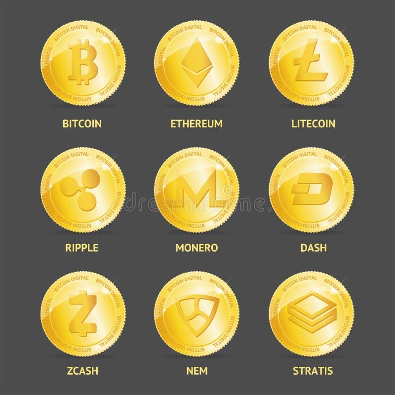 Realistyczne 3d Szczegółowe Crypto monety Ustawiać wektor royalty ilustracja