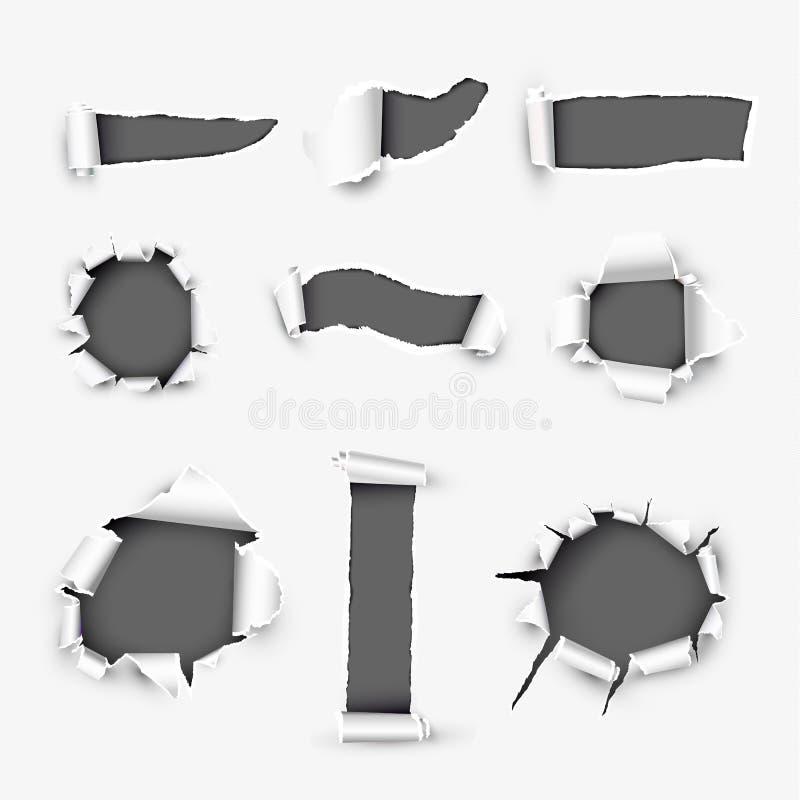 Realistyczne dziury w Białego papieru tle ilustracji