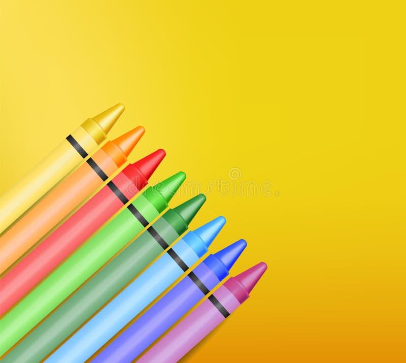 Realistyczne kredki odizolowywać, piękni kolory ilustracja wektor