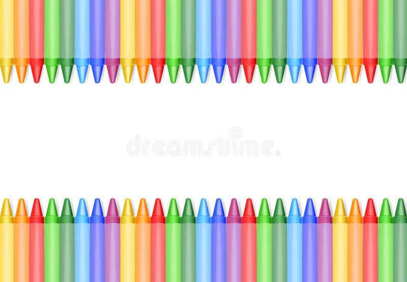 Realistyczne kredki odizolowywać, piękni kolory ilustracji