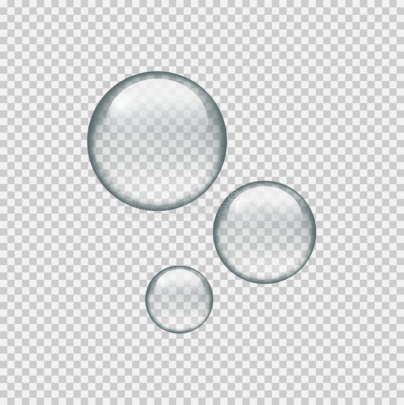 Realistyczne okrąg wody krople na przejrzystym tle royalty ilustracja