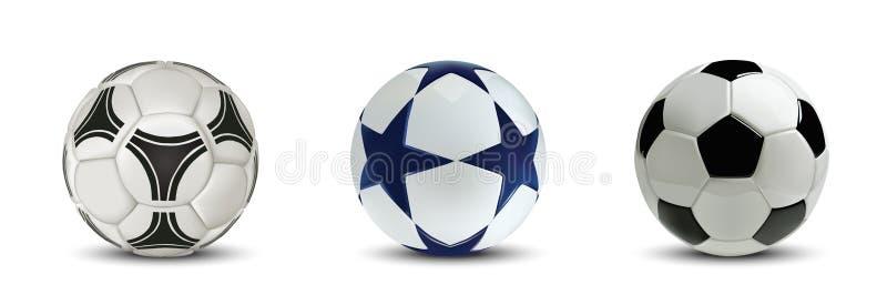 Realistyczne piłek nożnych piłki lub futbolowe piłki ustawiać pojedynczy białe tło ilustracji