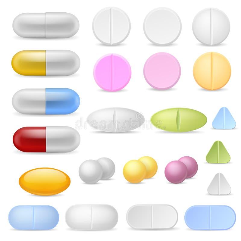 Realistyczne pigułek ikony Medycyn pastylek kapsuł leków środków przeciwbólowych antybiotyków witaminy Farmaceutyczny trak ilustracji