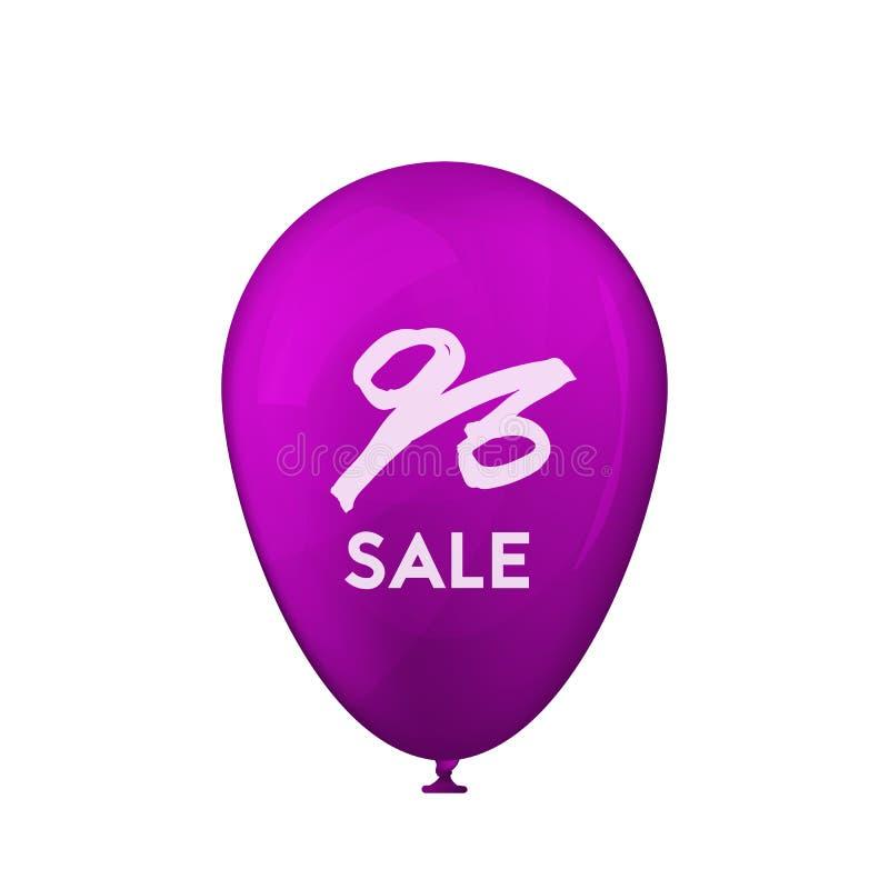 Realistyczne purpura balonu sprzedaże ilustracja wektor