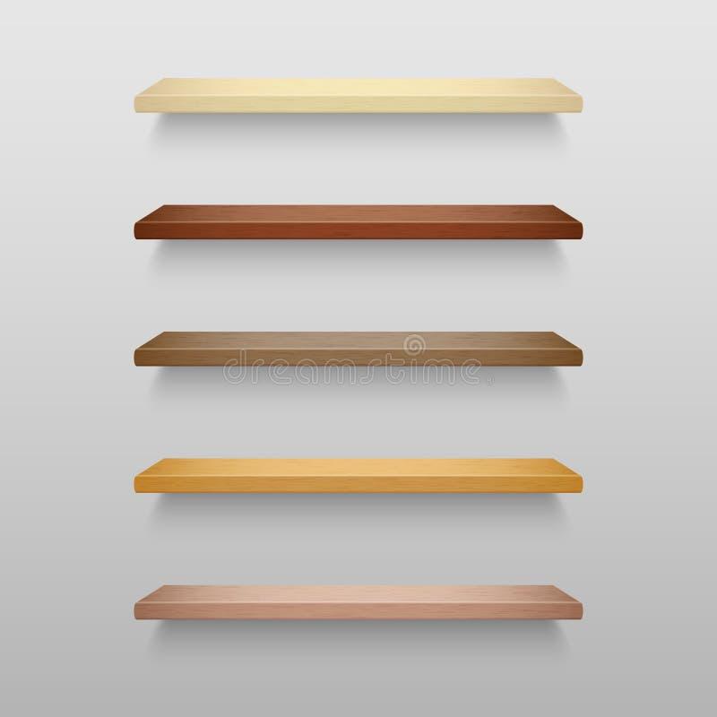 Realistyczne puste drewniane półki ustawiać z cieniami zdjęcie royalty free