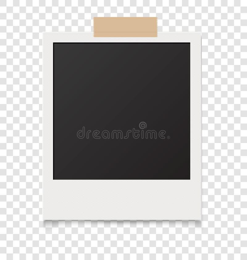 Realistyczne puste natychmiastowe fotografie na kleistej taśmie również zwrócić corel ilustracji wektora royalty ilustracja