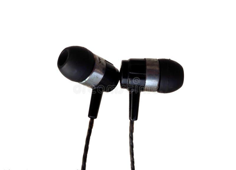 Realistyczne słuchawki, corded muzyczni hełmofony pojedynczy bia?e t?o Kolekcja equipments słuchawki stereo, nowożytne głowy zdjęcia stock