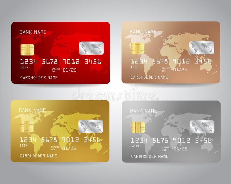 Realistyczne szczegółowe kredytowe karty ustawiać ilustracja wektor