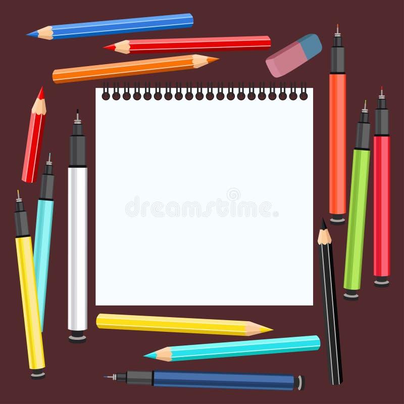 Realistyczne sztuk dostawy, ustawiają sztuka materiały Biurko artysty Sketchbook, stubarwna rękojeści kapilara, liniowowie, colou ilustracji