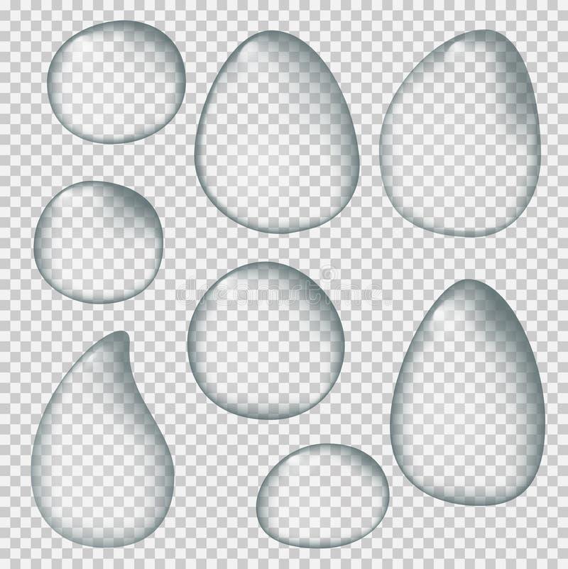 Realistyczne wod krople na przejrzystym tle ilustracji