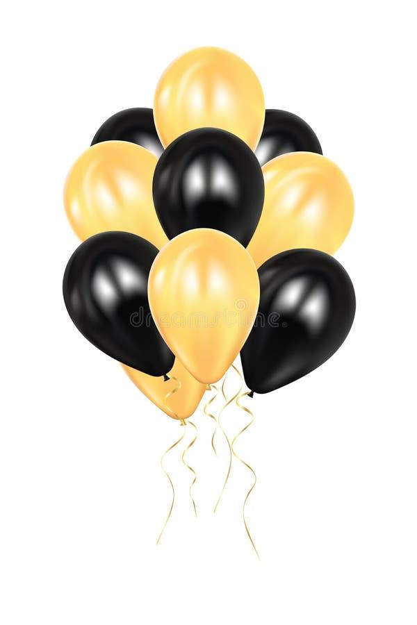 Realistycznego 3d czarni i złoci ballons Kolorowy glansowany Ballon Balonu odosobniony mockup dla rocznicy, przyjęcie urodzinowe  royalty ilustracja