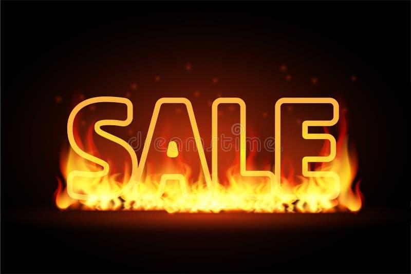 Realistycznego 3D ogienia płonącego teksta Gorąca sprzedaż, oferta specjalna sztandar Gorący czerwony płomień jarzy się na czarny royalty ilustracja